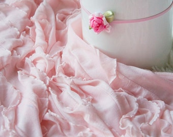 Light Pink Ruffle Wrap and Flower Headband, Newborn Photo Prop, Stretch Wrap, Swaddle Wrap, Layering Fabric.