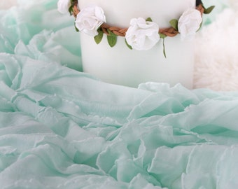 Mint Green Ruffle Wrap and White Flower Headband, Newborn Photo Prop, Stretch Wrap, Swaddle Wrap, Layering Fabric.