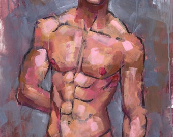 Shirtless on Grey Background, 22x38 Acrylic Painting of Young Man in Bikini Briefs