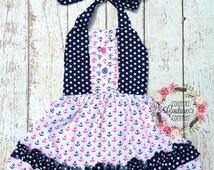 Girls Nautical Anchor Dress-Hot Pink Navy Blue Anchor Dress-Summer Baby Dress-Nautical Dress-Shabby Chic Baby Dress-Anchor Romper-Beach