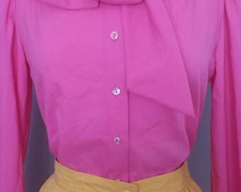 70s 80s Vintage bubblegum pink button down blouse with tie