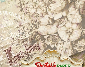 FLOWER to FLOWER - Printable wrapping paper Sheet for Scrapbooking, Creat - Download and Print