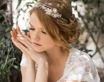 SALE! Bridal beaded crown, beads flowers tiara, bride halo, wedding hair jewelry, brides hair piece. The Ambrosia headpiece.