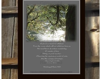 Wander Aimlessly Quote Print, Withdraw from Cares, Washougal Rvr, WA, Maya Angelou, inst dwnld, to frame, poster, art, high res JPG image.