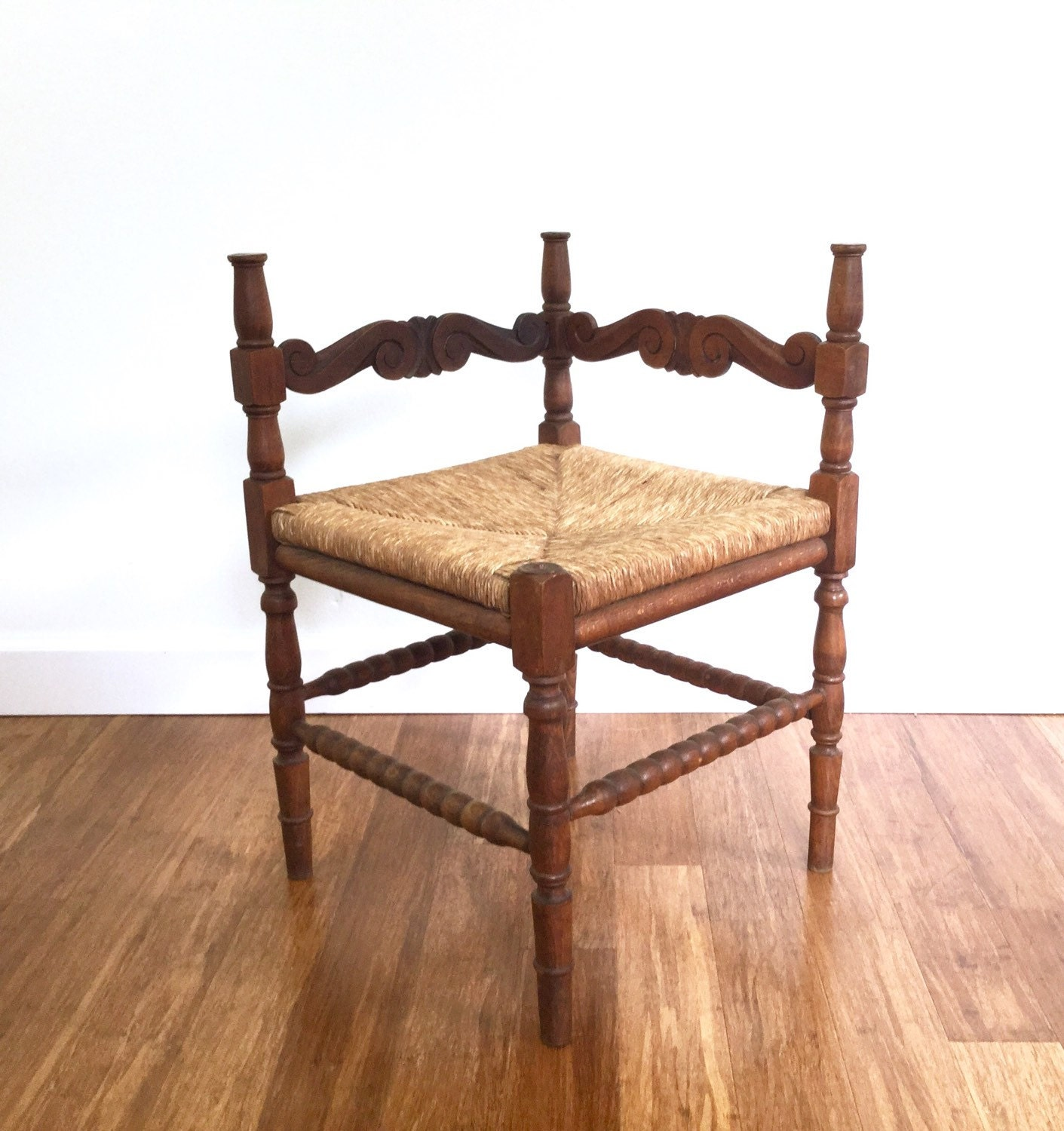 Very Impressive portraiture of Antique Woven Rush Corner Chair Carved Wood by ScoopsVintageModern with #A65D25 color and 1411x1500 pixels