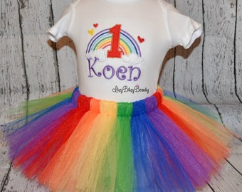 Baby girls rainbow first second third birthday outfit tutu headband ANY AGE