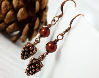 Pine Cone Earrings, Pine Cone Jewelry, Fall Earrings, Drop Earrings, Woodland Jewelry, Glass Pearl Earrings, Copper Earrings, Gift for her,