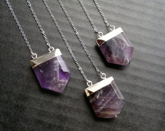 Amethyst Necklace Silver Amethyst Pendant Necklace Purple Stone Necklace Amethyst Jewelry Mineral Necklace Silver Purple Boho Stone Shield