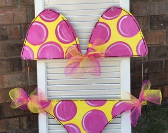 Summer Door Hanger, Bikini, Beach, Bathing Suit, Polka Dot, Door Hanger
