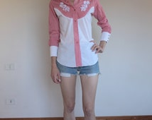 Gingham Miss Rodeo America red and white with lace and flowers snap up shirt, 1980's cowgirl!