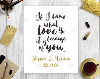 Important Date Art / If I know what love is, it is because of you PRINTABLE / Wall art / Quote print / Wedding gift art / Anniversary Gift