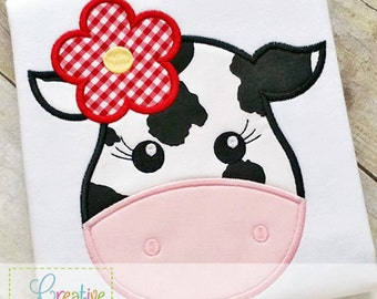 Cow Girl Digital Machine Embroidery Applique Design 4 sizes, cow applique, cow embroidery, bull applique, farm applique, bull embroidery