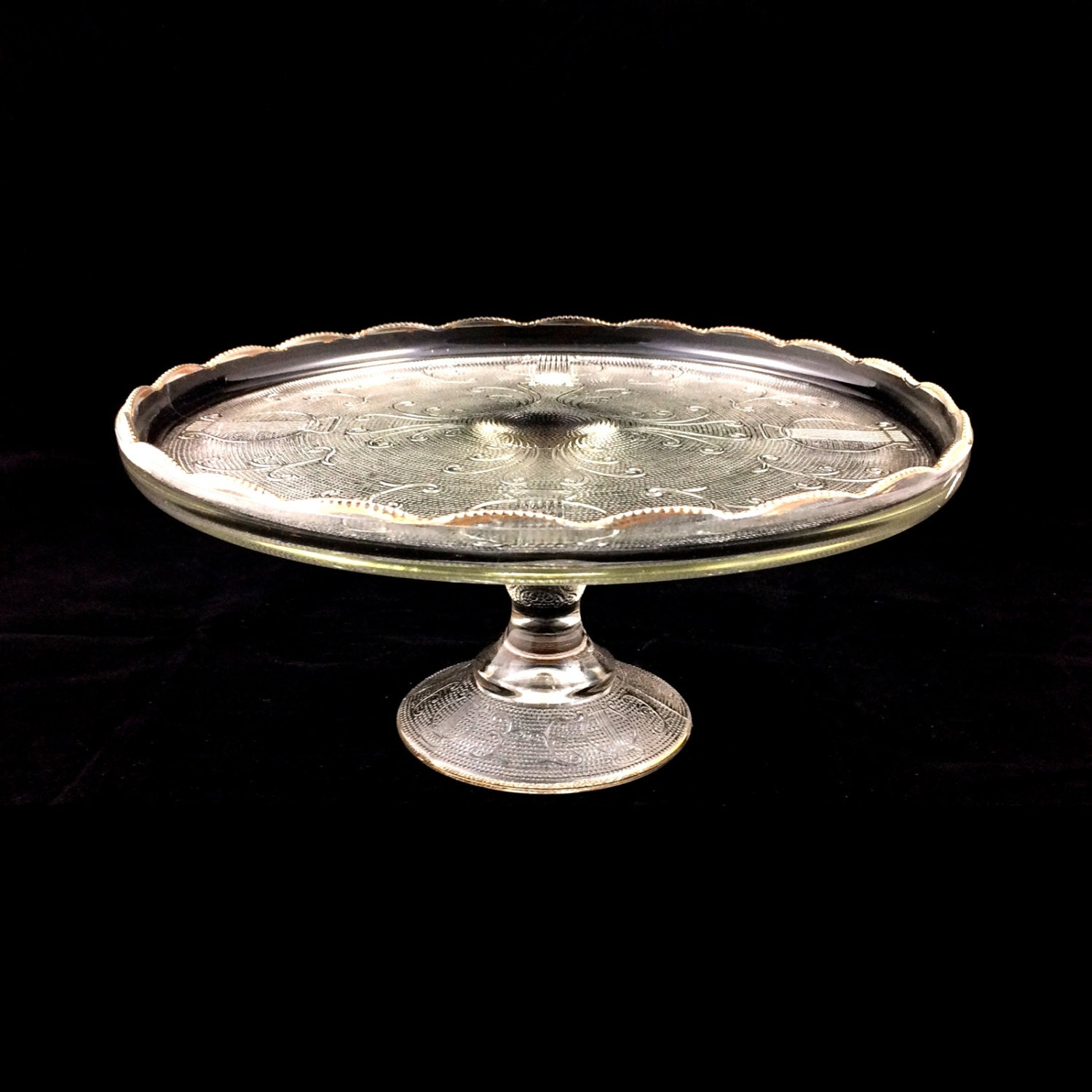 Vintage Clear Glass  Tier Cake Stand