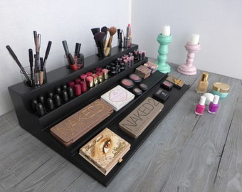 Makeup organizer - magnetic display - Beauty station in many colors - bathroom storage - countertop-Rangement maquillage -lipstick organizer