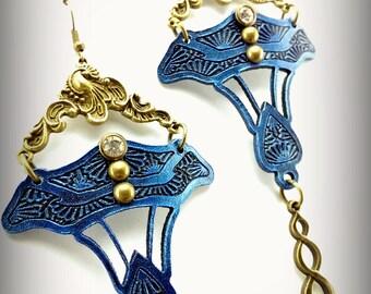 Electric Blue Daffodil Earrings - Art Nouveau Jewelery - Lasercut Leather Earrings