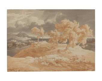 Coastal Landscape with a Thunderstorm, German Watercolor Painting Print