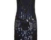 PETITE Length Audrey Black Navy Vintage inspired 20s Flapper Great Gatsby Charleston Art Deco Downton Abbey Bridesmaid hand Made Dress New