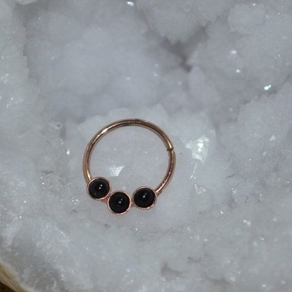 Septum Ring - Gold Nose Ring 2mm Onyx - Helix Ring - Tragus Piercing - Septum Hoop - Nipple Jewelry - Cartilage Ring 16 gauge