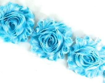 Rose trim - Blue and White Shabby Chiffon Flower, shabby flower trim, shabby chiffon rose trim, shabby rosette trim, DIY