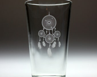 Dream catcher engraved glass with four hoops and feathers. dreamcatcher, feathers, woven