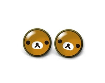 X753- Relax Bear, Glass Dome Post Earrings