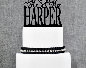 Mr and Mrs Last Name Cake Topper with Treble Bass Clef Heart, Mr and Mrs Cake Topper, Wedding Cake Topper, Elegant Wedding Topper- (T036)