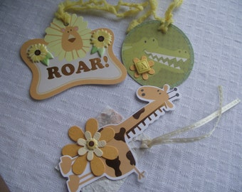 Set of Three Jungle Gift Tags,Party Tags,OOAK Juvenile GIFT Tags,Giraffe Lion Alligator Gift Tags,Scrapbook Tags,Paper Crafts,Party Supplies