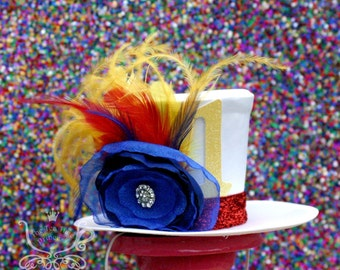 Girl's Circus Mini Top Hat. Birthday Top Hat, Mad Hatter, Tea Party Hat. Photo Prop/ Cake Smash. Yellow, Red, Blue Flower/Feather Fascinator