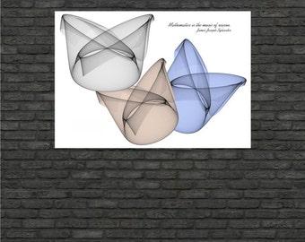 Science art - Mathematics - James Joseph Sylvester quote with Bézier Surfaces Xlarge poster (up to 70x100 cm) - mathematics art decor
