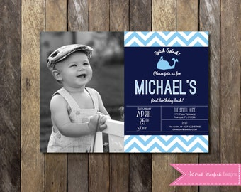 Nautical First Birthday Invitation with Picture, Whale First Birthday, Nautical Invitation, Nautical Birthday, Whale, Anchor, Blue, Digital