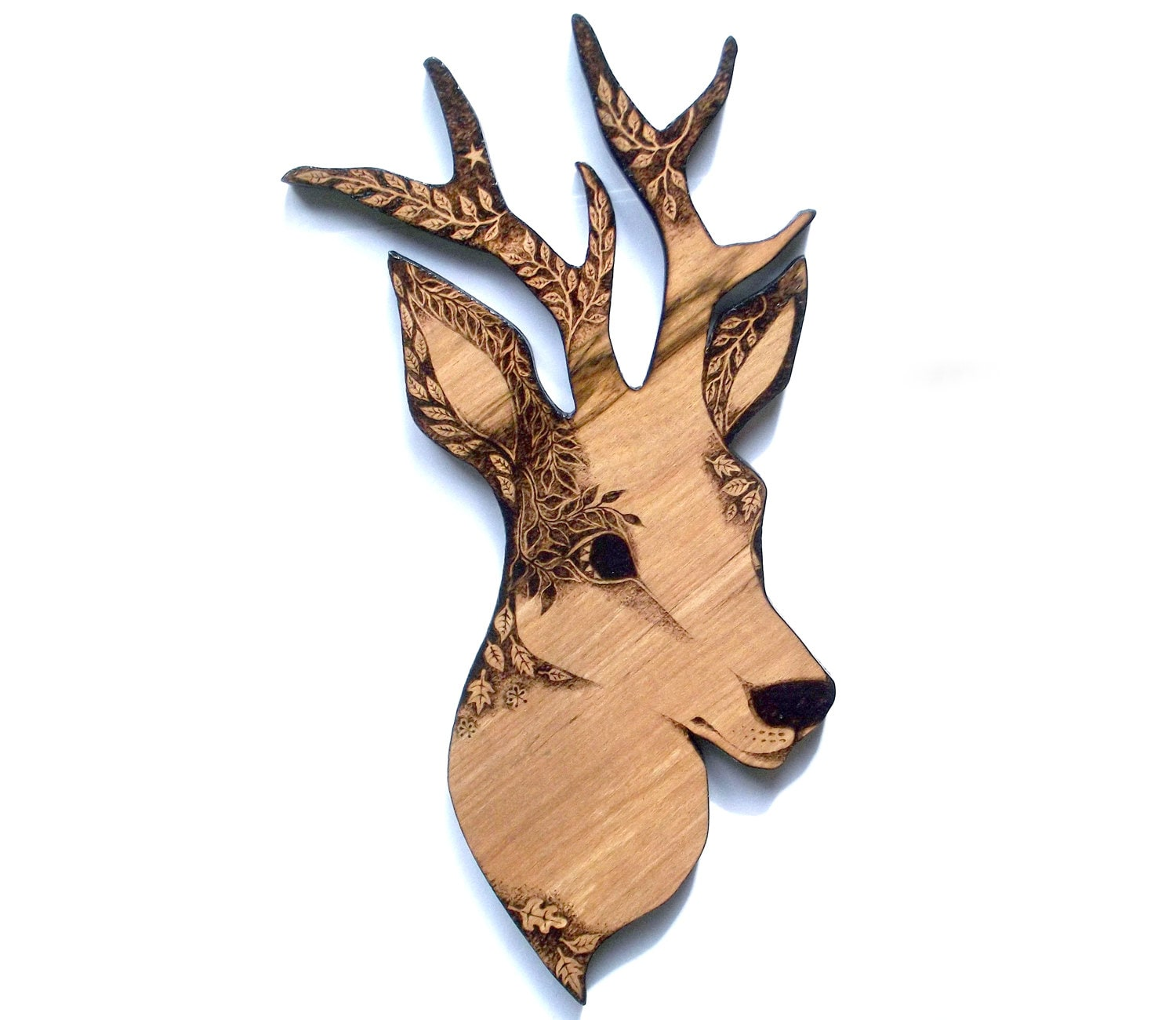 Deer wall hanging with pyrography wood burning deer head zoom amipublicfo Image collections