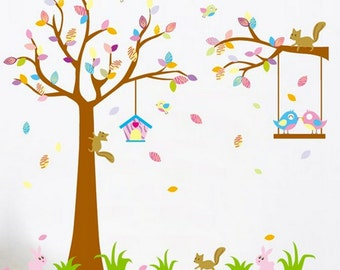 Wall Decals Nursery - Nursery Wall Decal - Tree Decal - Baby Girl Baby Boy Pink Blue Tree with Forest Friends - Rabbits Birds -Wall Sticker