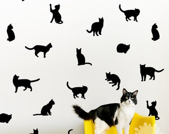 Charming Cat Wall Decal / Kitty Wall Decal / 36 Cats Sticker / Kids Room Decal / Part 25