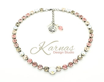 COCONUT TRUFFLE 8mm/12mm Crystal Chaton & Cushion Cut Necklace Swarovski Elements *Pick Your Finish *Karnas Design Studio *Free Shipping*