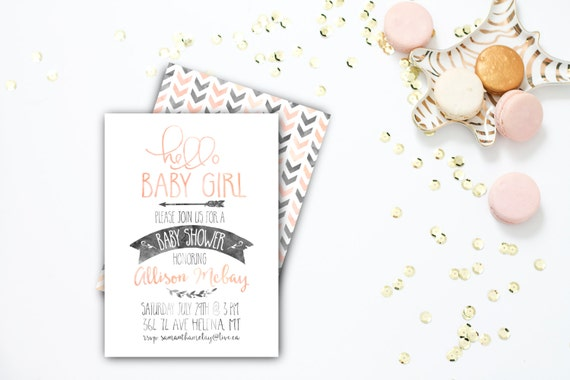Baby Shower Invitation, Baby Girl Shower, Printable Shower Invitation, Arrows, Pink, Modern, Sizes 4x6 or 5x7 #8