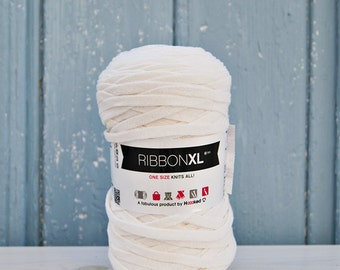 White Ribbon XL Yarn, Cotton Yarn XL, Recycled Cotton Yarn, Knitting, Crochet, White yarn