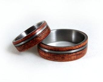 Wood Titanium Rings, Wood Ring Set, Titanium Ring Set, Bentwood Ring, Bubinga Wood Ring, Exotic Wood Rings, Wood Wedding Ring, GJG