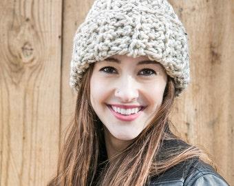 Cuffed Wool Beanie // Oatmeal Knit Hat // Slouchy Hat // THE AUBREY shown in Oatmeal