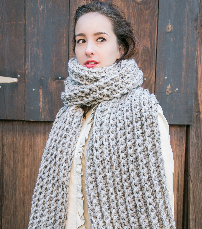 Grey Blanket Scarf // Oversize Knit Scarf // by MercierMarche