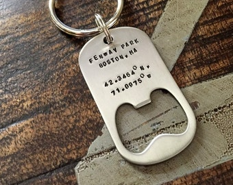 Bottle Opener Keychain Custom Keychain Handstamped Keychain Personalized Keychain Quote Keychain Guy Keychain