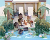 Bible MiniWorld Paper Toys - The Princess and the Baby - Cut, assemble and play. Instant download