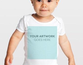Custom Infant Baby Rib Short Sleeve One-Piece Printing - American Apparel
