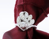 14K White Gold Chevron Floral Ring with Diamonds
