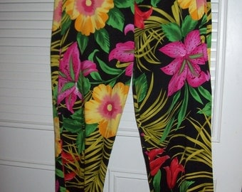 Pants 6 - 8,  Rain Forest in Bloom Pants  by Mesmerize Size 6 - 8 Enchanting Floral and Fauna