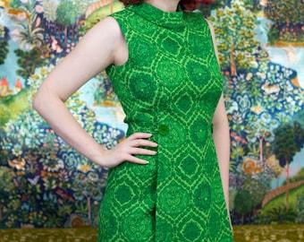 "Vintage 1960s Mod Green Damask Print Knit Dress - SM Small MD Medium 26""-29"" Waist"