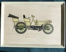 "Mercedes 1900 Vintage Classic Car Original Framed Vintage Art Print on Textured Paper 38 x 28 cms (14"" x 11"")  Good Condition"