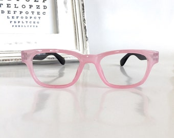 Pink Wayfarer Eyeglasses Frame, Pink Reading Glasses, Pink/ Black Color Blocked Glasses, Women's Eyewear