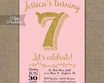 Pink Glitter Birthday Invitations - Any Age 1st 2nd 3rd 4th 5th 6th 7th Birthday Invitation - Pink and Gold Glitter Girls Birthday Invites