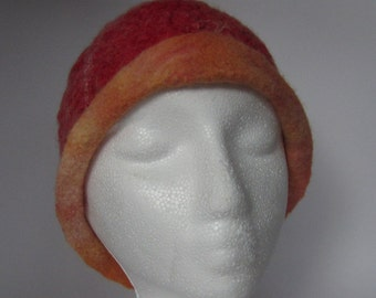 Hat for brains, red felted wool hat / beanie