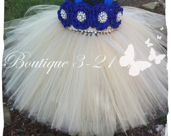 Royal Blue Tutu Dress, Champagne tutu dress, Champagne flower girl dress, Royal Blue flower girl dress, Champagne flower girl tutu dress,